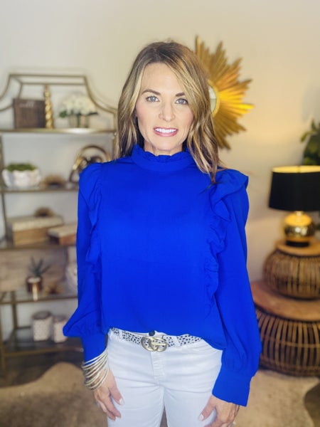 The Kate in royal blue ruffle top
