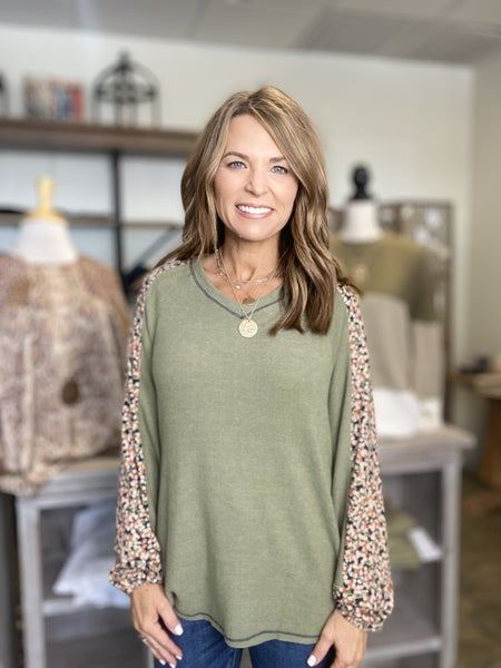 LAST ONE !! The Sonny in olive floral insert top *Final Sale*