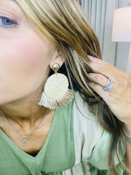 Rattan and ivory tassel earrings
