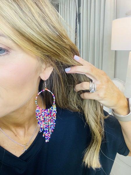 Multi Brad dangle earrings