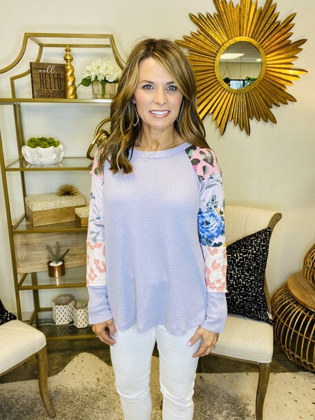 SPRING SALE !! The Aspen in lavender combo sleeve top *Final Sale*