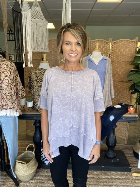 Lavender mineral washed tunic