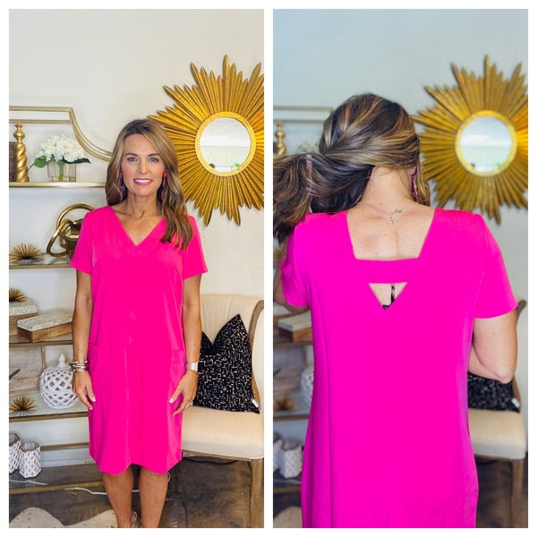 Hot pink V neck shift dress with pockets