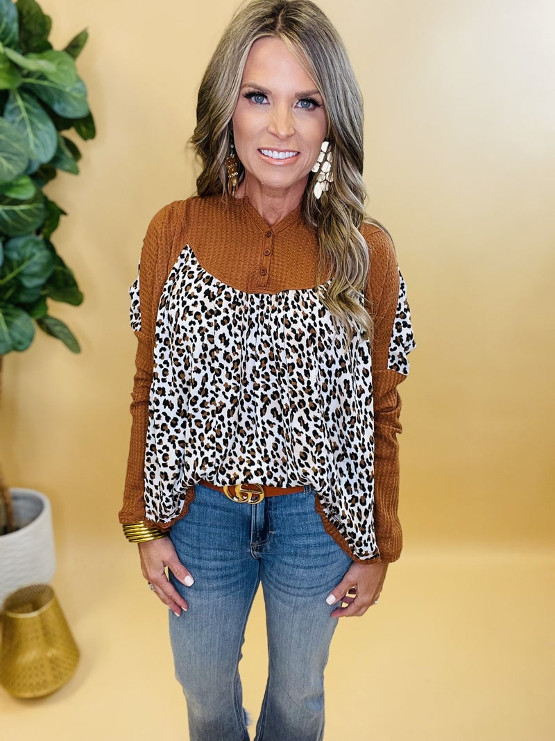 Bust A Move Chestnut Animal Print Top