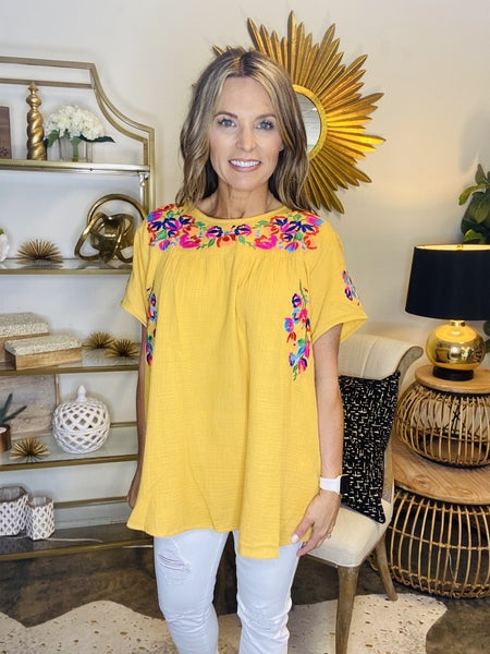 The Morris embrodiered top in yellow *Final Sale*