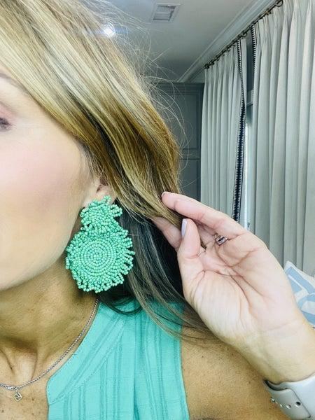 Kelly green beaded earrings
