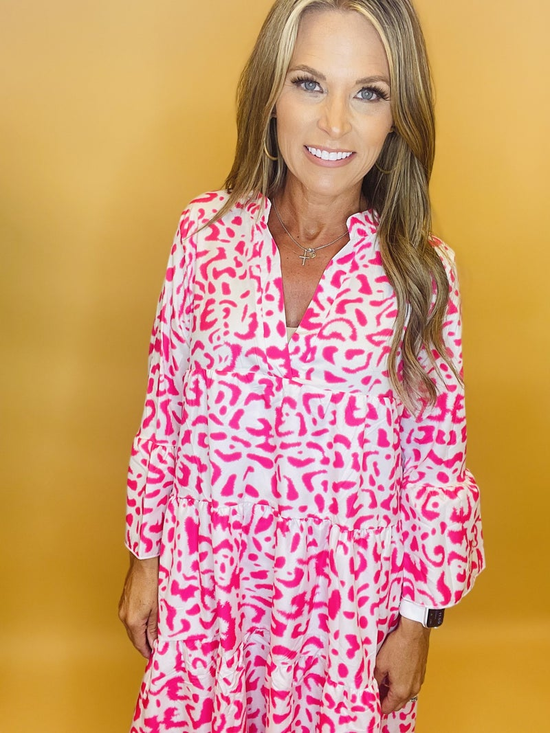 Perfect Together White/Pink Leopard Dress