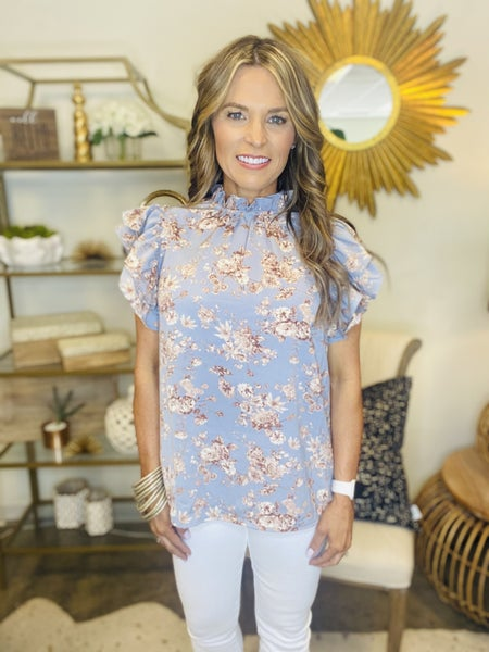 The Murphy high neck floral in sky blue