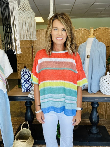 SUMMER SALE ! The Cora in coral and blue stripes *Final Sale*