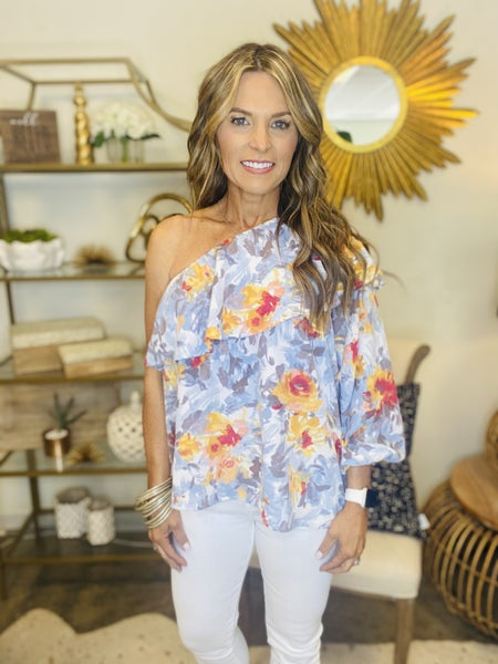 The Watson in ivory floral one shoulder