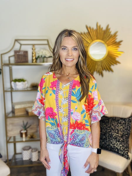 FLASH SALE !! The Voss top in golden floral tie top *Final Sale*