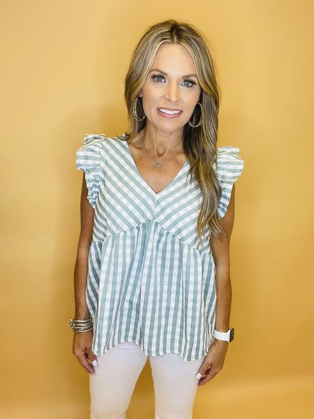 ON YOUR WAY DUSTY TURQUIOSE TOP---LAST ONE SALE *Final Sale*