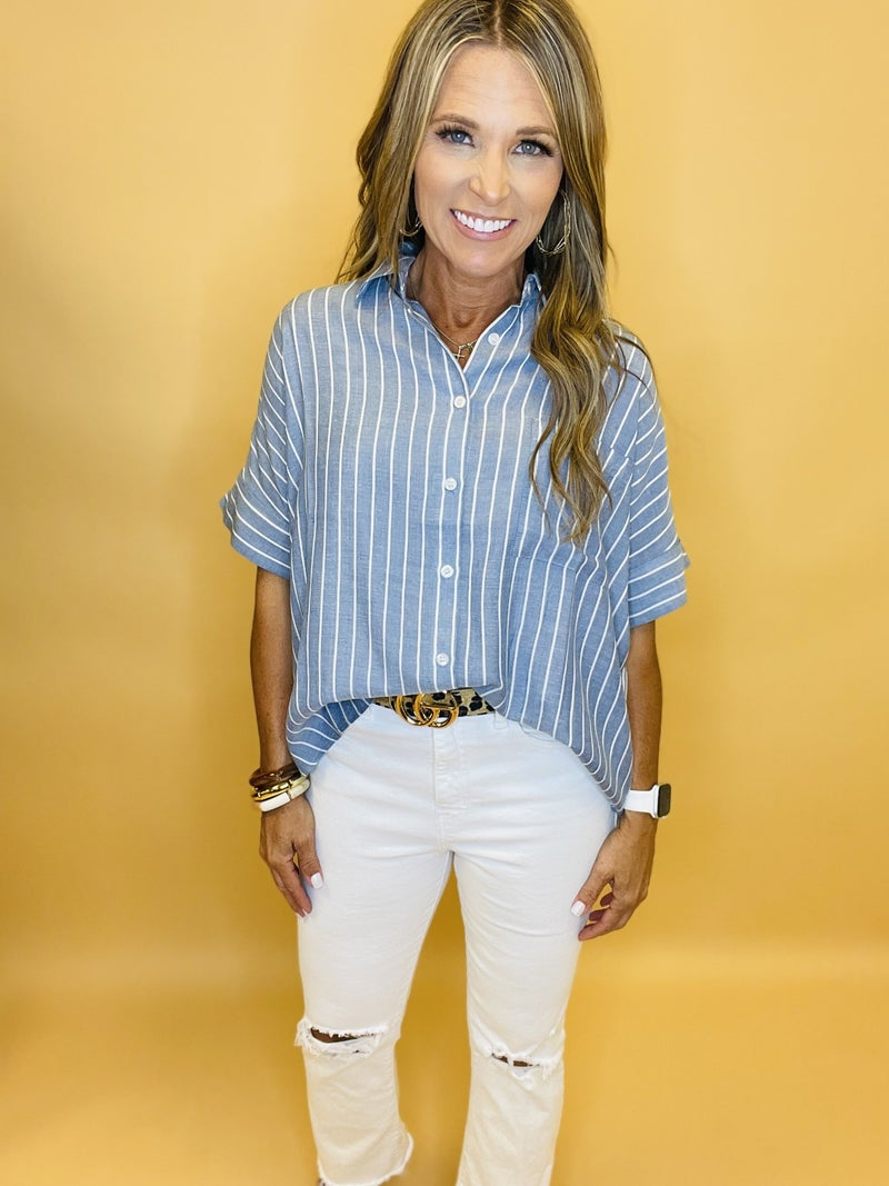 A FEELING LIKE THIS BUTTON DOWN TOP--SUMMER SALE *Final Sale*