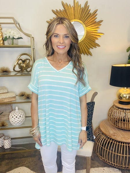 The Raven in mint and white stripe tunic