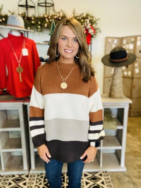 Sweater Sale! Toffee bliss stripe sweater *Final Sale*