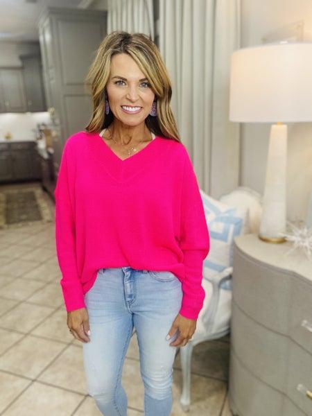 The Karen sweater in hot pink