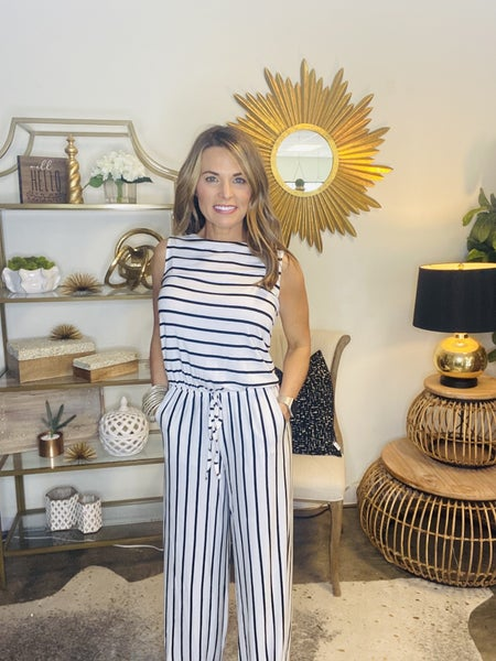 SUMMER SALE !! The Grenada jumpsuit in ivory and black stripe *Final Sale*