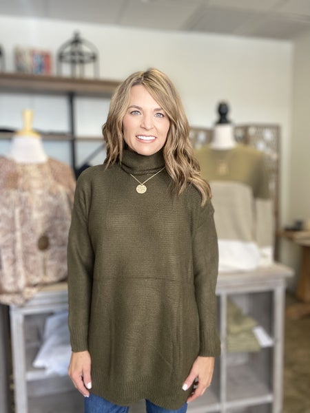 LAST ONE !! The Town sweater in Olive *Final Sale*