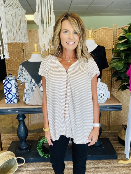 LAST ONE SALE !  The Margie in taupe stripe *Final Sale*