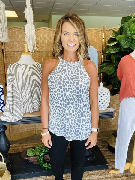 STOCK ROOM CLEAN OUT!  SALE! Mint and gray animal print tank *Final Sale*