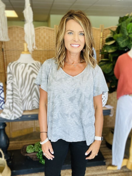 Last one! Gray mineral washed  v neck *Final Sale*