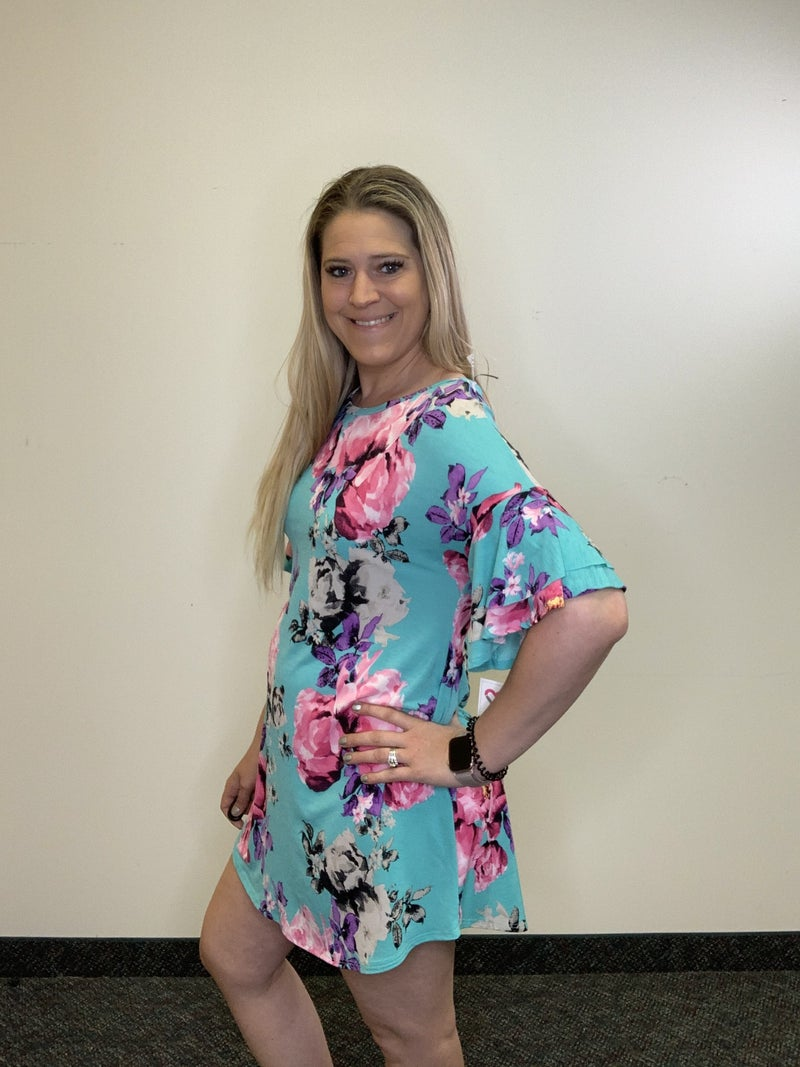 Short Sleeve Ruffle Floral Print Dress with Keyhole
