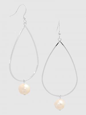 Freshwater Pearl Metal Teardrop Dangle Drop Earring