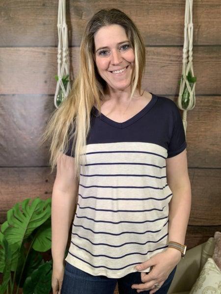 Short Sleeve Solid & Stripe Top