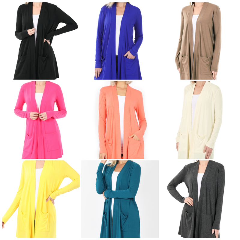 Long Sleeve Solid Open Front Cardigan
