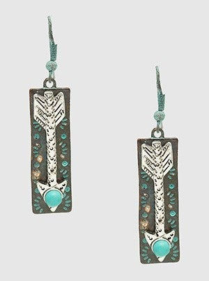 Arrow With Turquoise Textured Metal Rectangle Dangle Drop Earrings