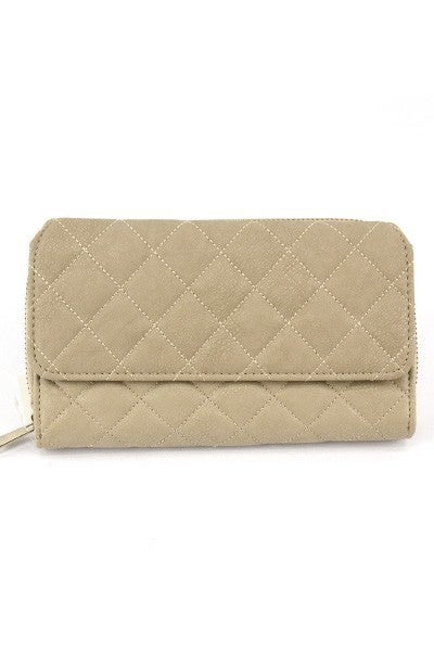 Trifold Quilt Stitch Solid Wallet