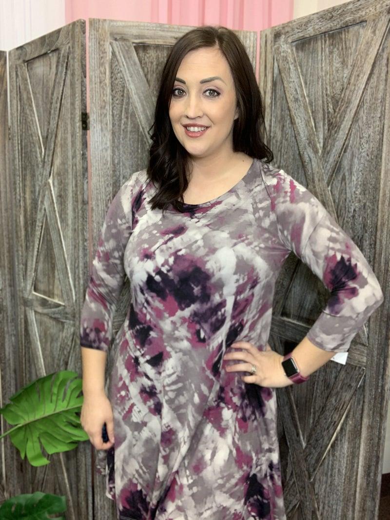 3/4 Sleeve Round Neck Splatter Tie Dye Dress