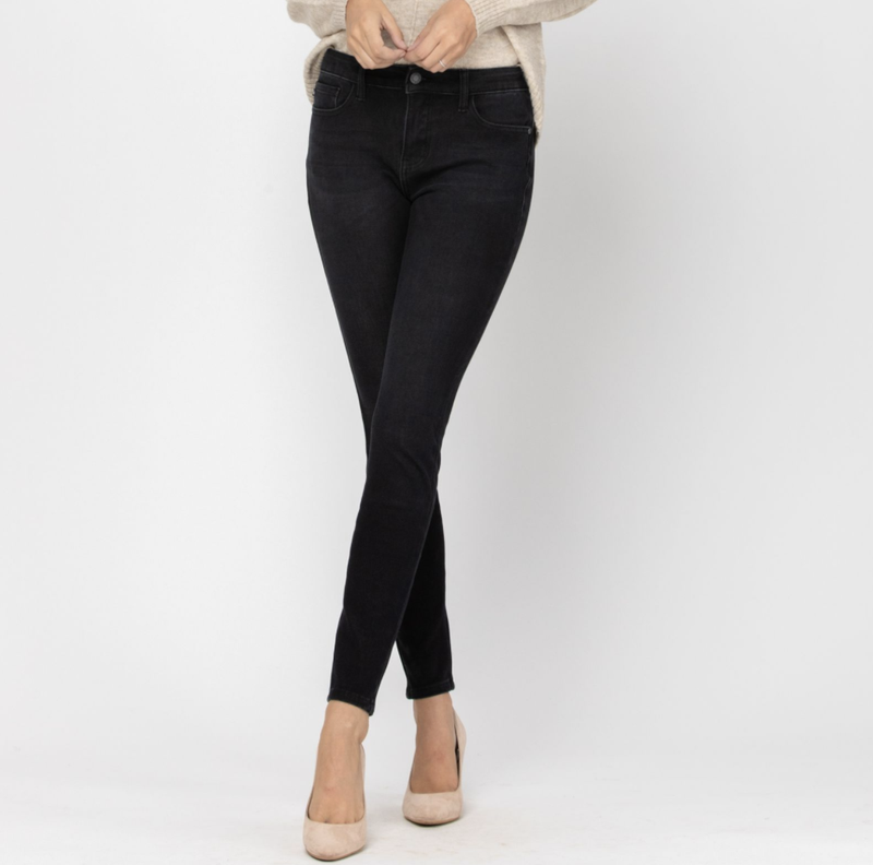 Judy Blue Mid Rise Black Thermal Skinny Jeans