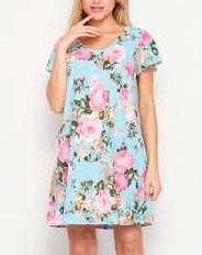 Short Sleeve Rose Floral Dress