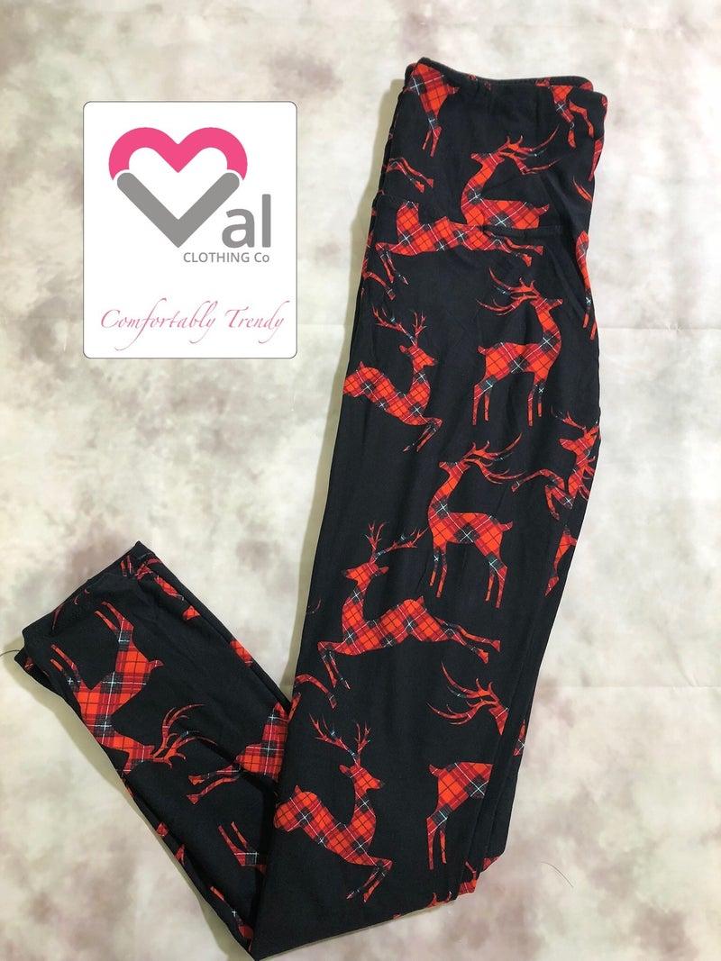Plaid Reindeer Leggings