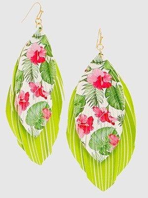 Leatherette Flower Tropical Leaf Fringe Dangle Drop Earring