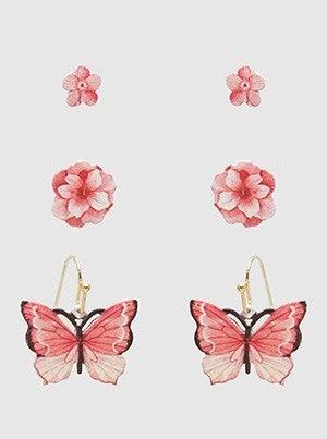 Flower Print Butterfly Post Stud Hoop Earrings Multi Pack