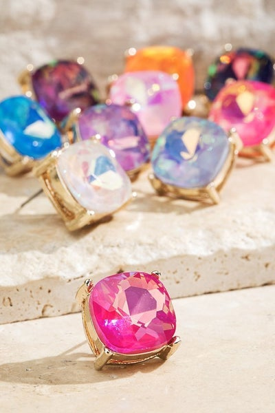 Faceted Glass Stud Post Earrings
