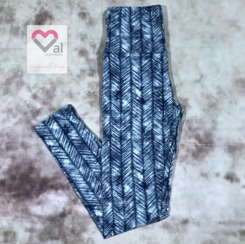Navy, Grey, and White Striped Leggings