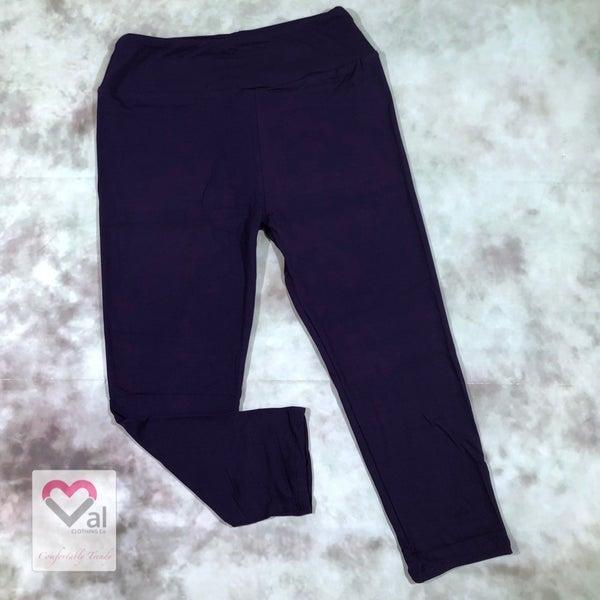 Solid Purple Capri Leggings