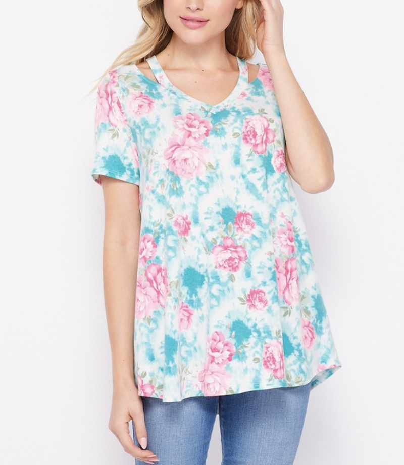Short Sleeve Sky Floral Top with Cutout Detail