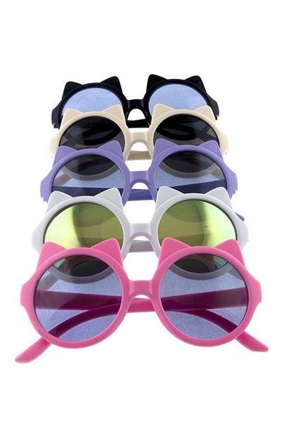 Kids Round Kitty Ear Sunglasses