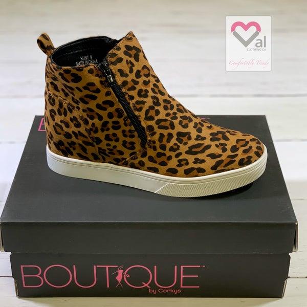 Corkys Hunt Leopard Zipper Wedge Shoes