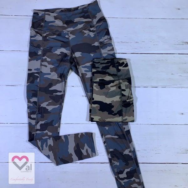 Full Length Camo Print Pocket Leggings with Yoga Band
