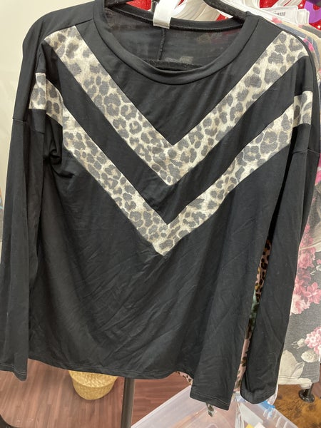 Long Sleeve Solid and Leopard Chevron Top
