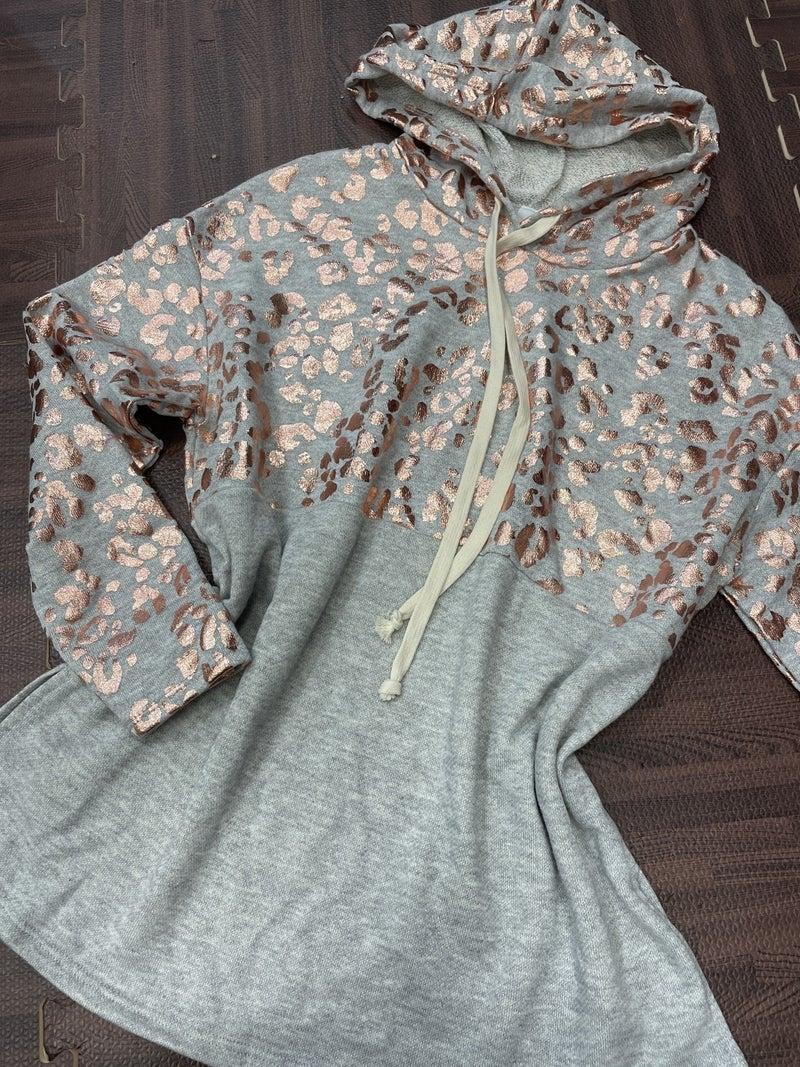Long Sleeve Metallic Leopard and Solid Hoodie Top
