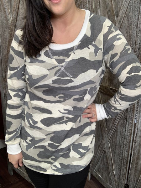 Long Sleeve Camo Top with Trim Detail