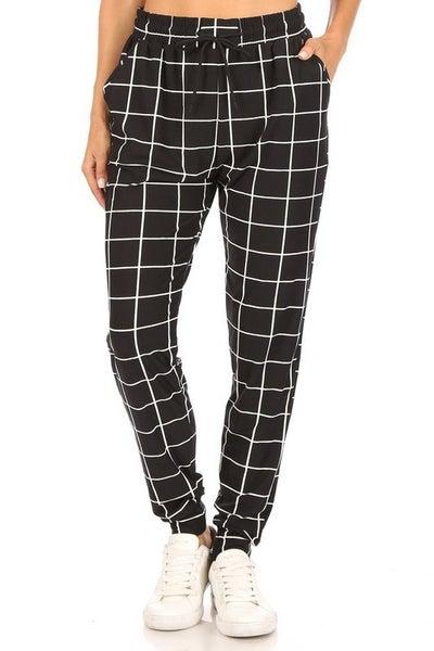 Leggings Material Checkered Printed Joggers