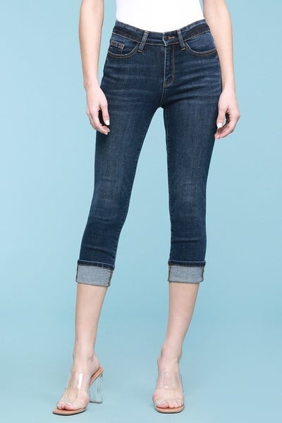 Judy Blue Dark Wash Cuffed Capris