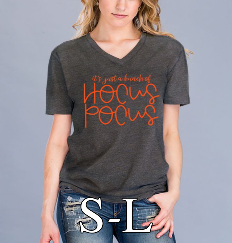 Short Sleeve V Neck It's Just a Bunch of Hocus Pocus Top